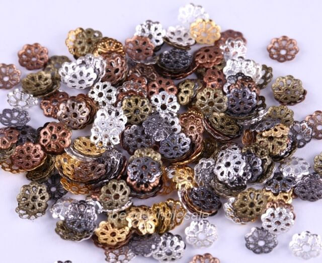 500pcs mixed color metal flower 6mm bead caps For Jewelry Making
