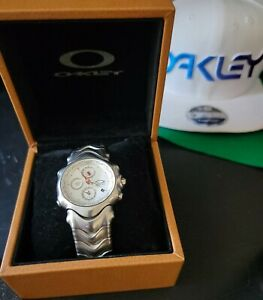Oakley GMT Watch Honed Stainless Steel White Face+Box 10-140 Sapphire RARE