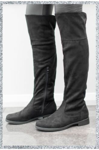 Suede Style Zip Up Knee High Boots