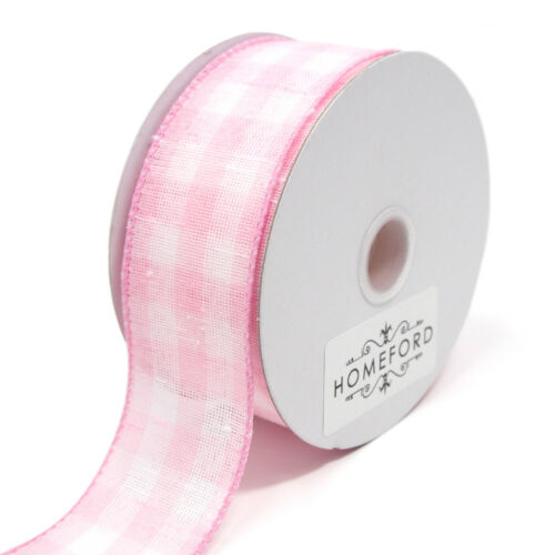 Colorful Gingham Checkered Linen Wired Ribbon 10 Yards