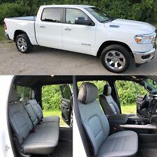 2020 Dodge Ram Crew Cab Big Horn Star Katzkin Black Gray Leather Seat Covers