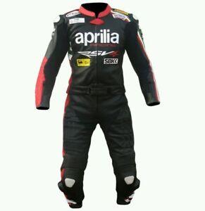 APRILIA-Costume-de-motard-en-cuir-Biker-Cuir-Costume-Moto-Cuir-Veste-Pantalon