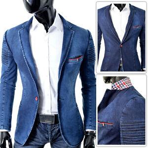 Mens Jeans Blazer Denim Jacket | Blue Ribbed Casual Party | UK Seller FREE POST | eBay