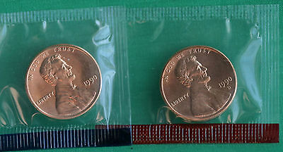 1988 P+D Lincoln Memorial Penny ~ Uncirculated Coins in Cellophane from Mint Set