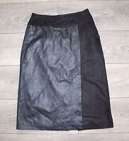 Black Soft 100% Real Leather Straight Pencil Calf Length Ladies Skirt Size UK 8