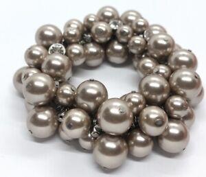 Vintage-Bracelet-Faux-Pearl-Bead-Stretch-Rhinestone