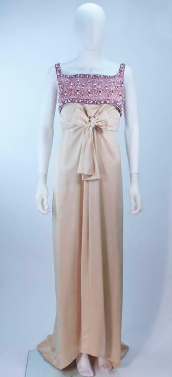 GIVENCHY COUTURE Circa 1960s Nude Gown w/ Beaded … - image 2