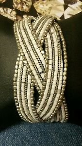 Elegant-White-and-Silver-Beaded-Multi-Strand-Braided-Cuff-Bracelet