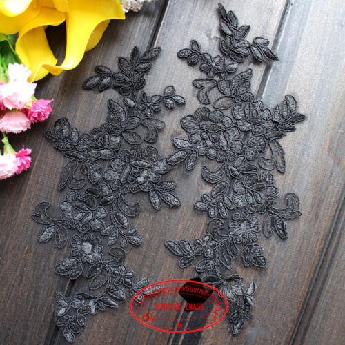 2PC Flower Motif Fabric Embroidered Lace Trim Sewing Applique Dress Decor FL177