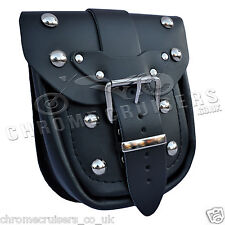 MOTORCYCLE BIKER BLACK LEATHER POCKET POUCH BAG WITH RIVETS