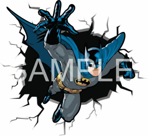 BATMAN breaking through WALL STICKER 3D comic decal art boys bedroom superhero
