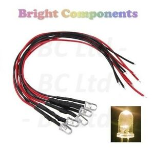 10-x-Pre-Wired-Warm-White-LED-5mm-Ultra-Bright-9V-12V-1st-CLASS-POST
