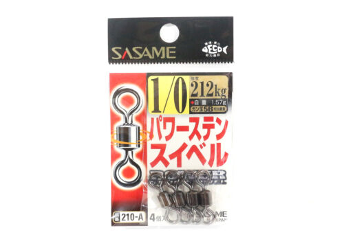 0907 Sasame 210-A Power Stain Swivel Smooth Spin Black Size 1//0