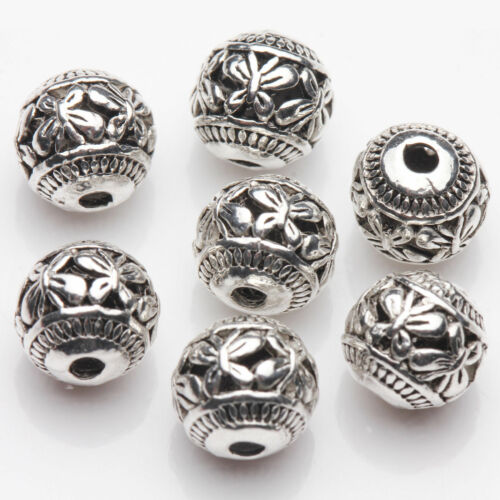 Wholesale 10//20Pcs Tibetan Silver Hollow Butterfly Charm Spacer Loose Beads 8mm