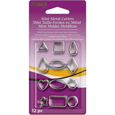 set of 12 mini metal cutters with a geometric theme