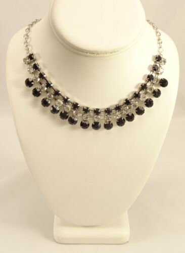 """New 16/"""" Oval Link Chain Necklace with Jet /& Crystal Rhinestones #N2379A"""