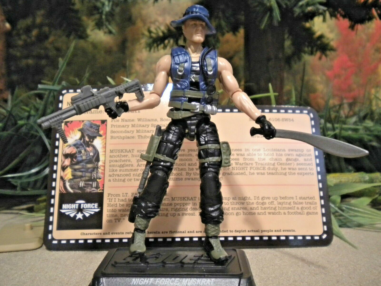 GI JOE  2013 MUSKRAT  NIGHT FORCE comp & card  NOCTURNAL FIRE  joecon 1986
