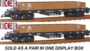 NEW-2-A-PAIR-G-SCALE-45mm-GAUGE-FLAT-BED-TRUCK-BROWN-FREIGHT-GARDEN-TRAIN