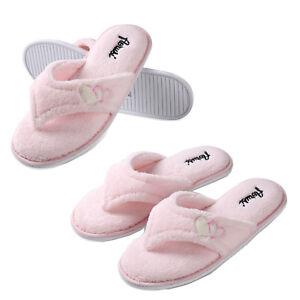 c919bc5046534 Aerusi Women Pink Splash Spa Slippers Soft Thong Fluffy Plush Indoor ...