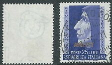 1952 TRIESTE A USATO SAVONAROLA FILIGRANA LETTERA - L1