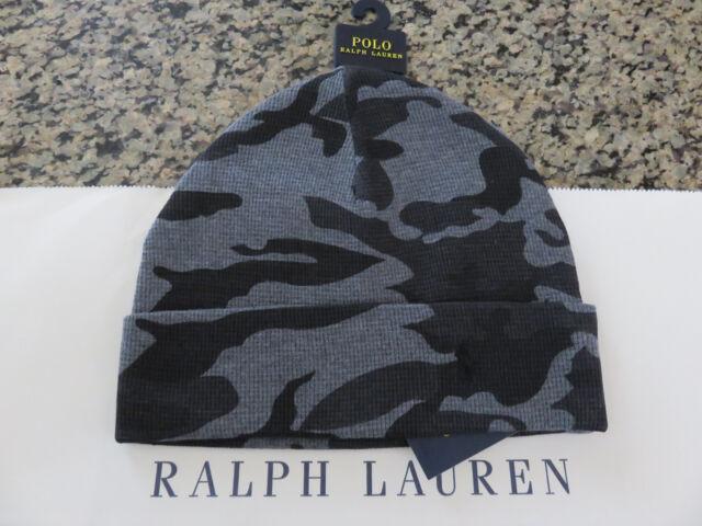 1b6898b7 Polo RALPH LAUREN Cotton Thermal Pony Camo Beanie Hat Skull Cap Grey Gray