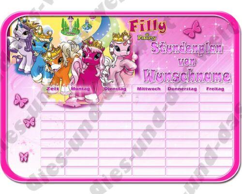 ✿ ✿ FILLY FAIRY Pferde Einhorn ✿ Din  A4  ✿ Schule STUNDENPLAN Neu NAME ✿