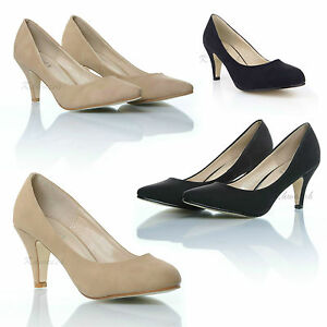 WOMENS LADIES STILETTO BLACK NUDE MID HEEL ROUNDED POINTED TOE