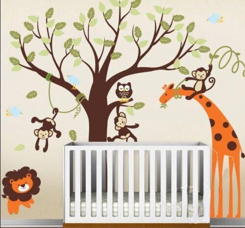 Tall 150cm Removable Jungle Tree Animal Vinyl Wall Paper Decal Art Sticker X889