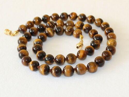Tiger Eye Necklace 8mm Tiger/'s Eye Beads Hand Knotted Brown Tigers Eye Beads