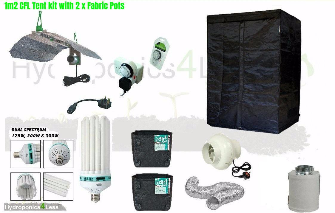 Mejor CFL hidropónico tienda de crecimiento habitación completa filtro del ventilador luz Kit 100x100x200