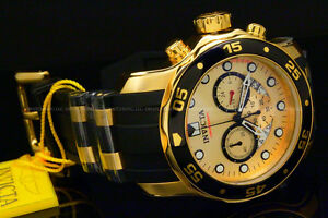 New-Invicta-Men-Scuba-Pro-Diver-Chrono-18K-Gold-Plated-Gold-Dial-SS-Poly-Watch