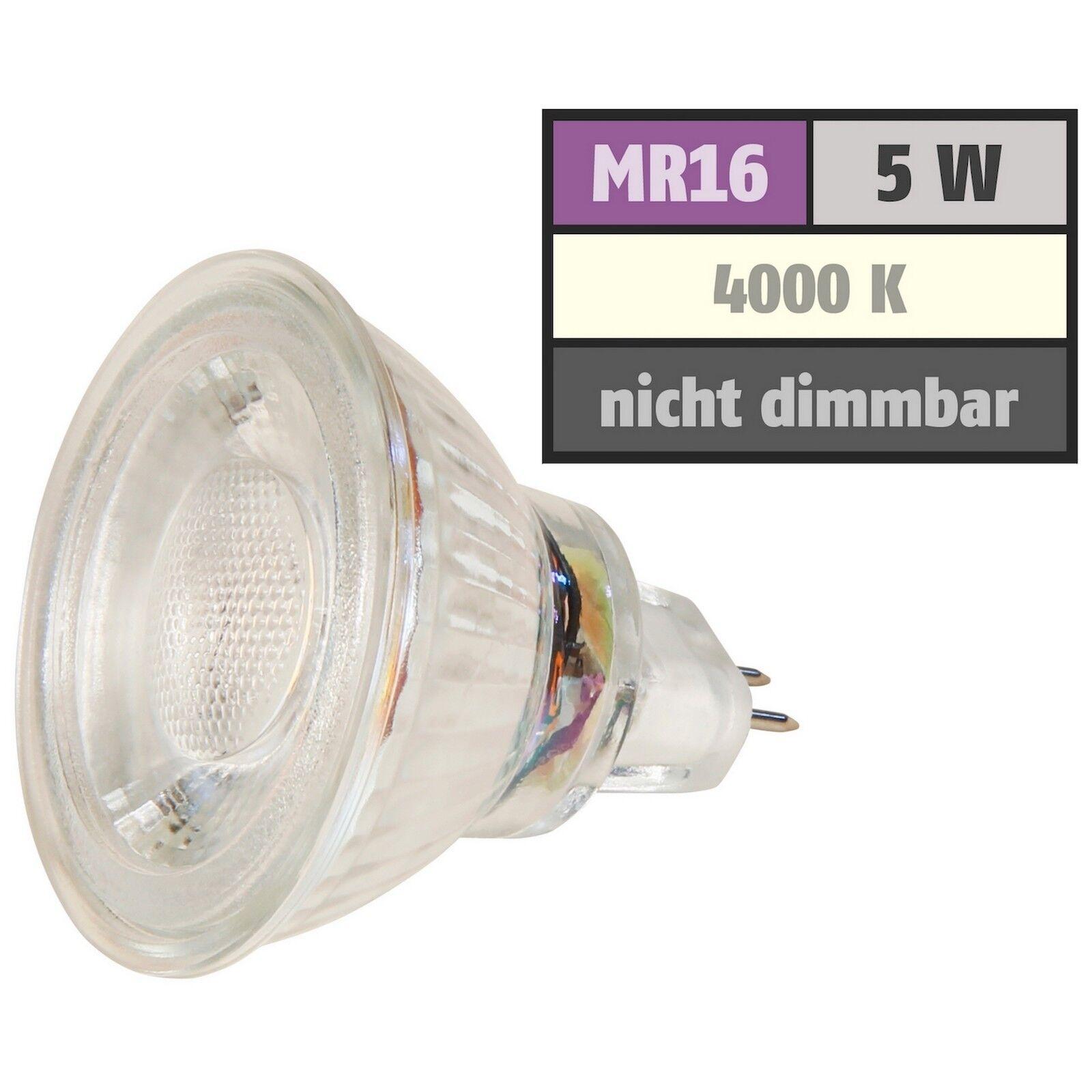 5W MCOB LED Leuchtmittel 12Volt   Niedervolt   Neutralweiss 4000k   Gu5.3   MR16