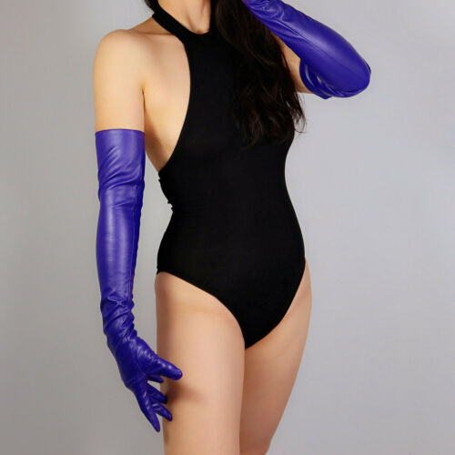 "LONG FASHION GLOVES Faux Leather Sheepskin 16/"" 40cm Elbow Purple Ultra Violet"