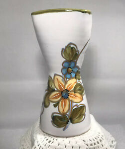 Vintage Ceramic Italy Yellow Blue Flower Vase Hand Painted Spring Art Pottery