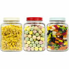 Set Of 3 Square Glass Storage Jars Kitchen Tea Coffee Sugar Sweets Containers