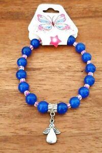 Lapiz Lazuli Stone Angel Beaded Bracelet Lucky Blue Healing Anxiety