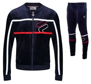 FILA-Mens-Velour-Full-Zip-Track-Top-or-Velour-Jog-Pants-Blue-Mix-Match-Suit
