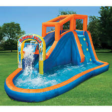 Inflatable Water Slide Park Splash Pool Outdoor Bounce House Kids Backyard  Play