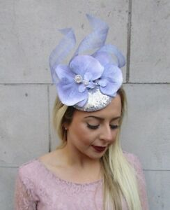 Image is loading Lilac-Grey-Silver-Orchid-Flower-Fascinator-Sequin-Races- bb070d41269