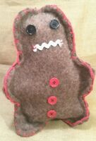 Primitive Handcrafted Usa Gingerbread Man Recycle Wool Blanket Rustic Decor Gift