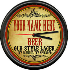 Personalized Your Name Beer Brewing Tavern Man Cave Retro Bar Sign Wall Clock