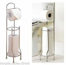 FREE STANDING CHROME BATHROOM 4 TOILET TISSUE PAPER ROLL HOLDER STAND