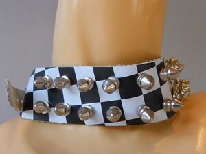 NEW-2-TONE-SPiKE-STUDDED-LEATHER-CHOKER-COLLAR-NECKLACE-Oi-WORKiNG-CLASS-PUNK