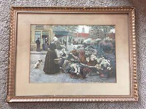 d33c2b1873a3 Image is loading Vintage-Henri-Houben-Print-large-Framed-Art-Flower-