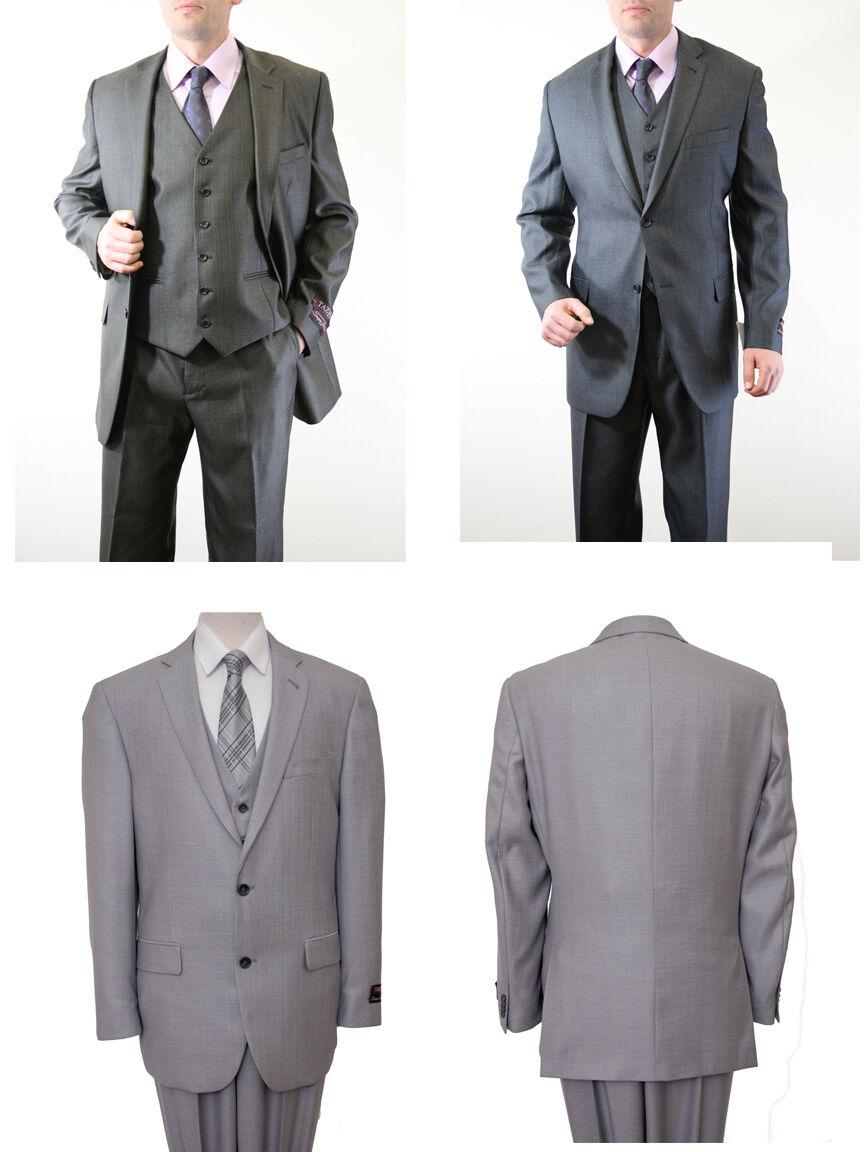 Men's 3 Piece Vest Notch Lapel Solid Textured Modern Classic Tailored Fit Suit