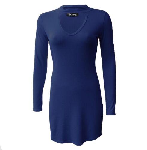NEW WOMENS LADIES  LONG SLEEVE CURVE HEM CHOCKER V NECK TUNIC MINI BODYCON DRESS