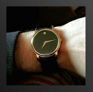New-MOVADO-2100005-Gold-Museum-Classic-Black-Dial-Leather-Quartz-Men-039-s-Watch
