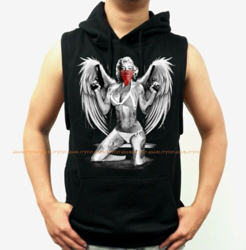 Men/'s Marilyn Monore Pistols Workout Hoodie Vest Tank Gym mma boxing tattoo