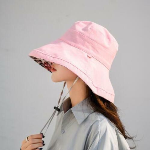 Women Summer Reversible Floppy Wide Brim Beach Roll Foldable Sun Hat Visor Cap