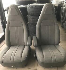 Admirable Details About 1997 2019 Chevy Gmc Express Savanna Van Bucket Seats Grey Cloth Driver Passenger Pabps2019 Chair Design Images Pabps2019Com